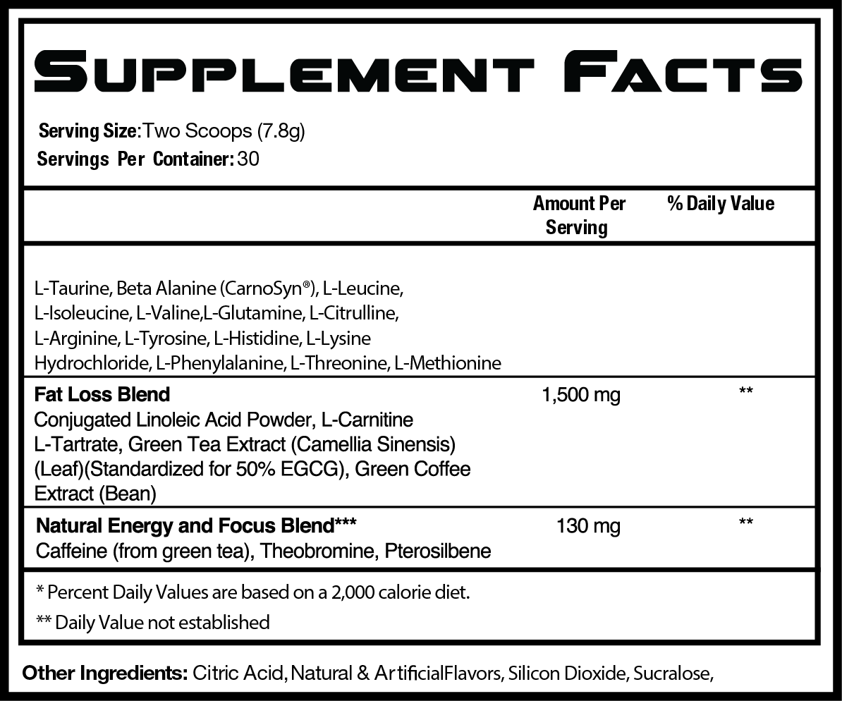 RSP Nutrition - Amino Lean - Energy Formula Nutritional Information