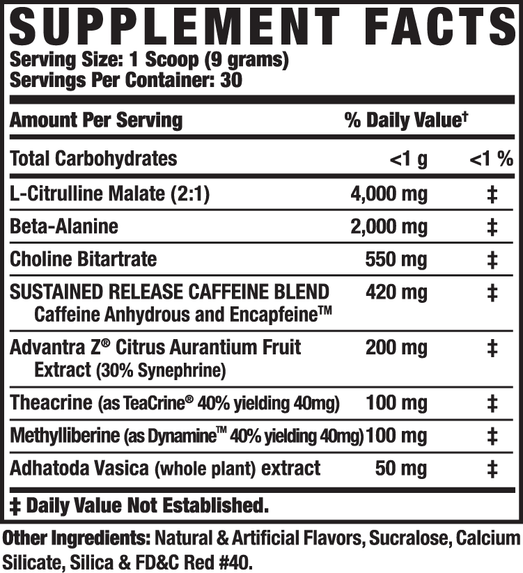 Ronnie Coleman Yeah Buddy (30 Serve) Sour Apple Supplement Facts